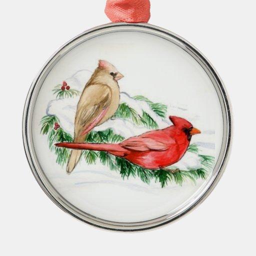Cardinal Couple Bird Art Ornament