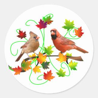 Cardinal Couple Classic Round Sticker