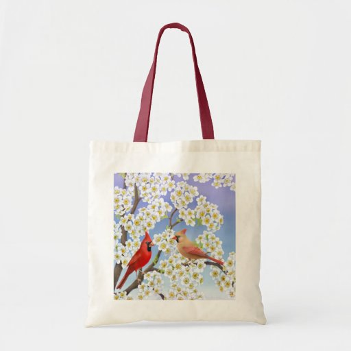 Cardinal Couple in Flowering Tree Bag