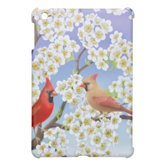 Cardinal Couple in Flowering Tree Cover For The iPad Mini