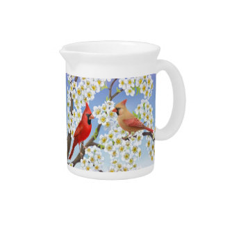 Cardinal Couple in Flowering Tree Pitcher