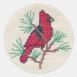 Cardinal Cross Stitch Sticker