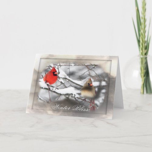 Cardinal Duo Winter Bliss Greeting Card card