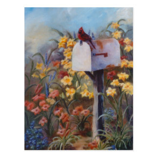 Cardinal esperando el correo postal