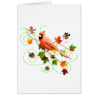 Cardinal & Fall Leaves Card