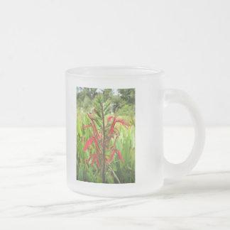 Cardinal Flower, Lobelia cardinalis Frosted Glass Coffee Mug