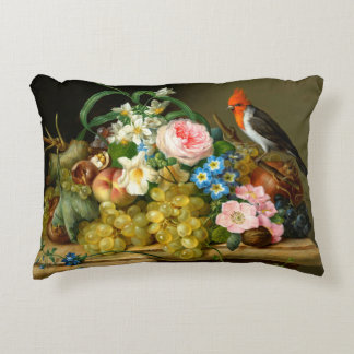 Cardinal, Fruit, and Flowers Accent Pillow