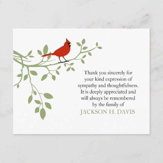 cardinal funeral thank you note card red bird zazzle com