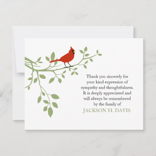 Cardinal Funeral Thank You Note Card Red Bird