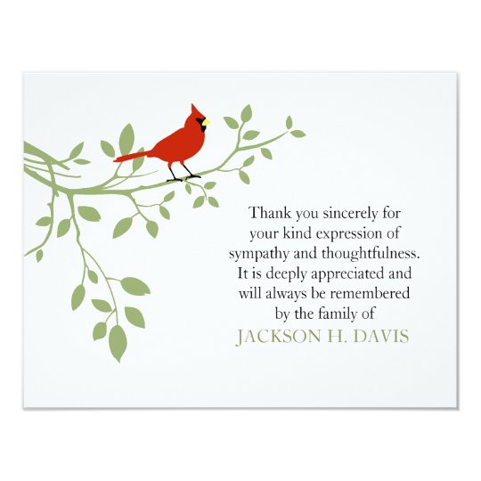 Cardinal Funeral Thank You Note Card Red Bird