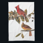 "Cardinal Grosbeak Audubon Birds of America Towel<br><div class=""desc"">This male and female pair of cardinals is perched on a flowering wild almond branch. The male is a rich red with a black mask and the female is more camouflaged with red markings. This is bookplate 159 of John James Audubon&#39;s Birds of America series. A perfect towel for bird...</div>"