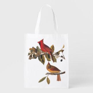 Cardinal Grosbeak Birds Audubon Vintage Bookplate Reusable Grocery Bag