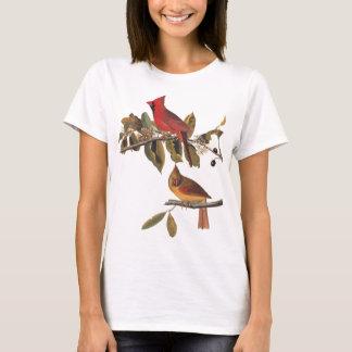 Cardinal Grosbeak Pair Audubon Vintage Bird Art T-Shirt