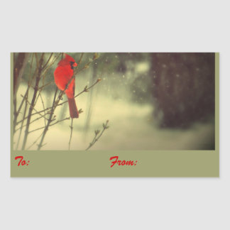 Cardinal Holiday Gift Tags Rectangular Sticker