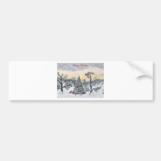 Cardinal Holiday Greetings Bumper Stickers