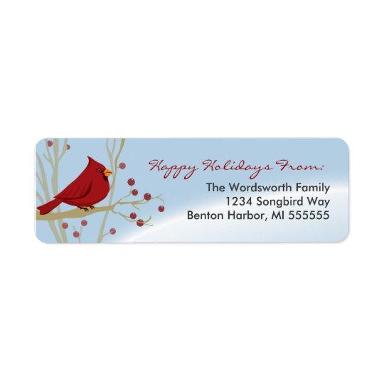 cardinal holiday return address labels. Black Bedroom Furniture Sets. Home Design Ideas