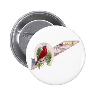 Cardinal, Horseshoe and Wintry Scene Button