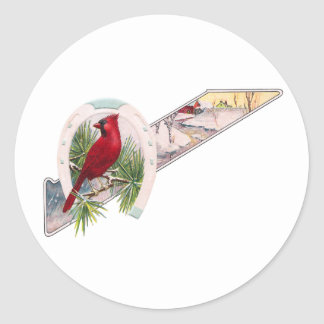 Cardinal, Horseshoe and Wintry Scene Classic Round Sticker