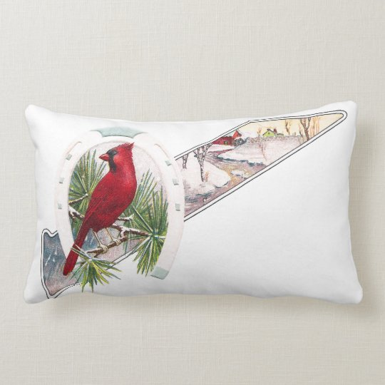 Cardinal, Horseshoe and Wintry Scene Lumbar Pillow