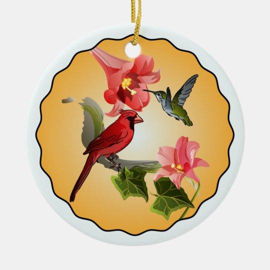 Cardinal & Hummingbird with Pink Lilies Round Ceramic Ornament