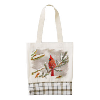 Cardinal in a pine tree in winter zazzle HEART tote bag