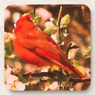 Cardinal in Apple Blossoms Coaster