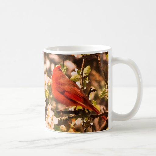 Cardinal in Apple Blossoms Coffee Mugs