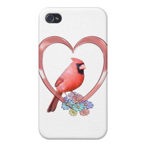 Cardinal in Heart iPhone 4 Case