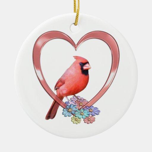 Cardinal in Heart Christmas Ornament