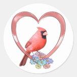Cardinal in Heart Stickers