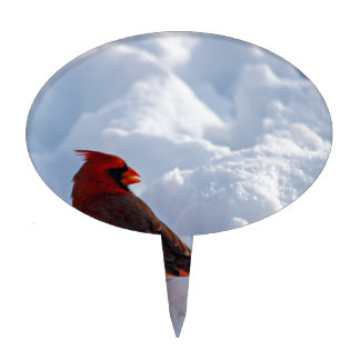 Cardinal in snow cake topper