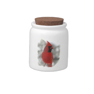 Cardinal in Snow Candy Jars