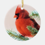 Cardinal in Snow Dusted Fir Double-Sided Ceramic Round Christmas Ornament