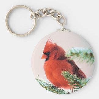 Cardinal in Snow Dusted Fir Keychain
