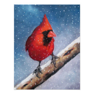 CARDINAL IN SNOW: OIL PASTEL ART POSTER