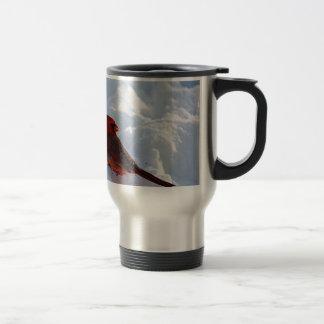 Cardinal in snow travel mug