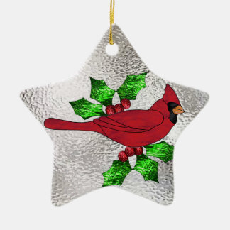 Cardinal in Stained Glass Ceramic Ornament