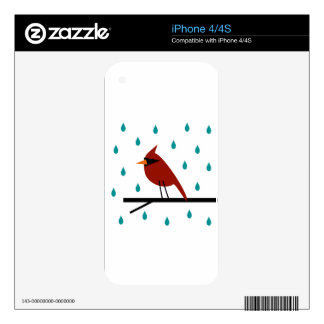 Cardinal in the Rain Skin For iPhone 4S