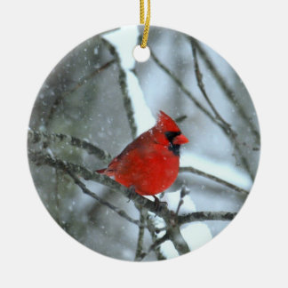 Cardinal In The Snow Ceramic Ornament