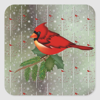 Cardinal in the Snow Square Sticker