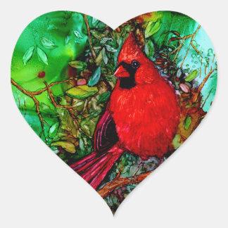 Cardinal In the Tree Heart Sticker