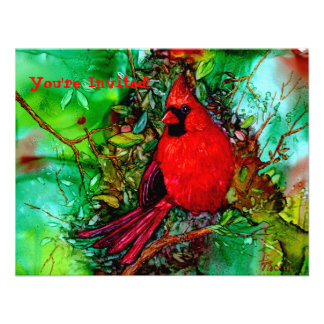 Cardinal In the Tree Invitations Personalized Announcements
