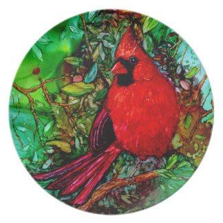 Cardinal In the Tree Melamine Plate