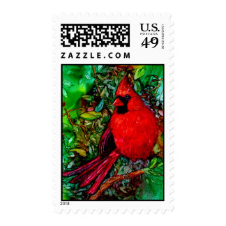 Cardinal In the Tree Stamp
