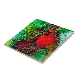 Cardinal In the Tree Small Square Tile