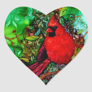 Cardinal In the Tree Heart Stickers