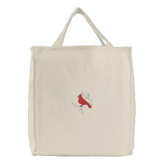 Cardinal in Winter Embroidered Tote Bag