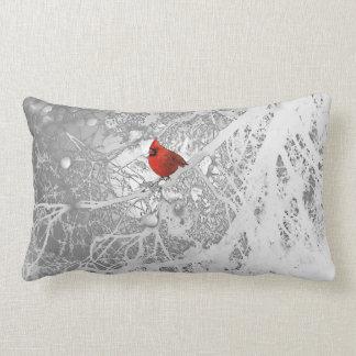 Cardinal in Winter Lumbar Pillow