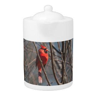 Cardinal in Winter Teapot