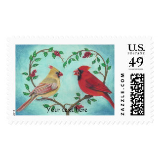 Cardinal Love Birds with Heart shap Branch Art Postage